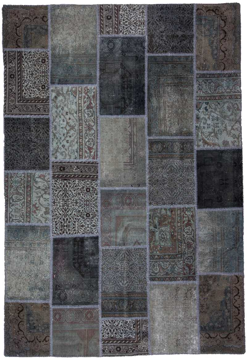 Over-dyed Gray Color Patchwork Rug-0834