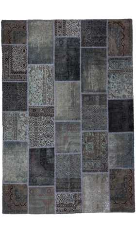 Over-dyed Gray Color Patchwork Rug