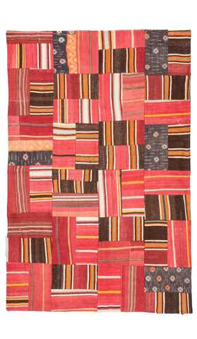 Red Color Kilim Patchwork Rug