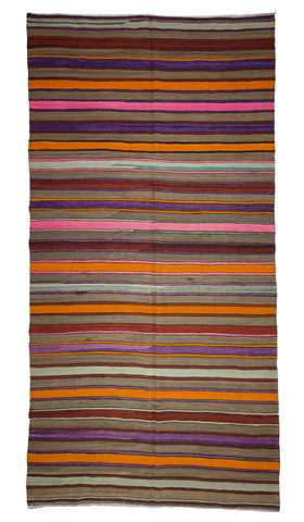 Large Vintage Handmade Anatolian Kilim. Striped Flat-woven Wool Rug with Rich Colors.
