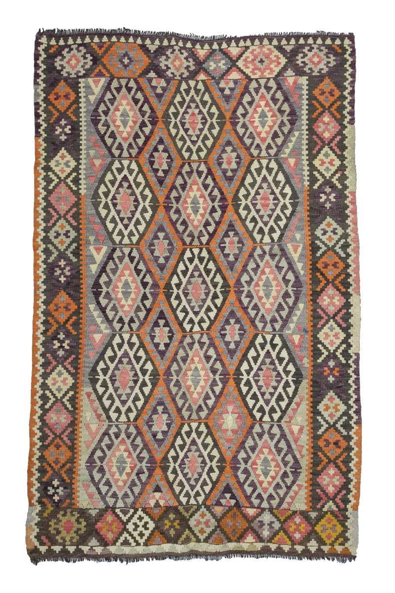 Orange, Gray Vintage Antalya Kilim Rug-4841