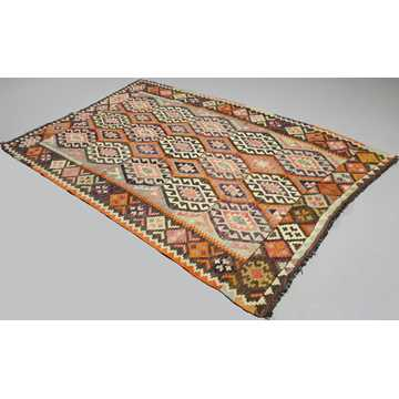 Orange, Gray Vintage Antalya Kilim Rug-4841 detail 1