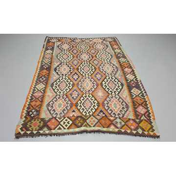 Orange, Gray Vintage Antalya Kilim Rug-4841 detail 2
