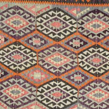 Orange, Gray Vintage Antalya Kilim Rug-4841 detail 3