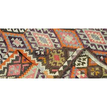 Orange, Gray Vintage Antalya Kilim Rug-4841 detail 4