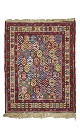 Decorative Small Size Soumak Kilim Rug