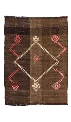 Brown Color Vintage Balikesir Kilim Rug