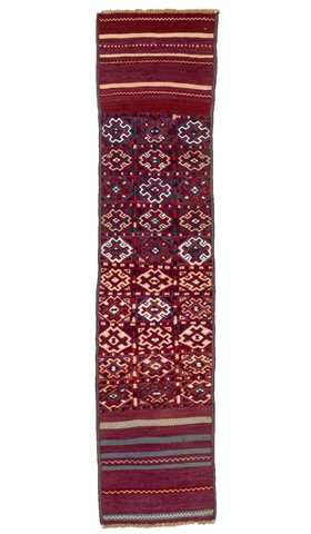 6328-Decorative Hand Embroidery Runner Rug - 1' 5'' x 6' 1'' (44 cm x 186 cm)